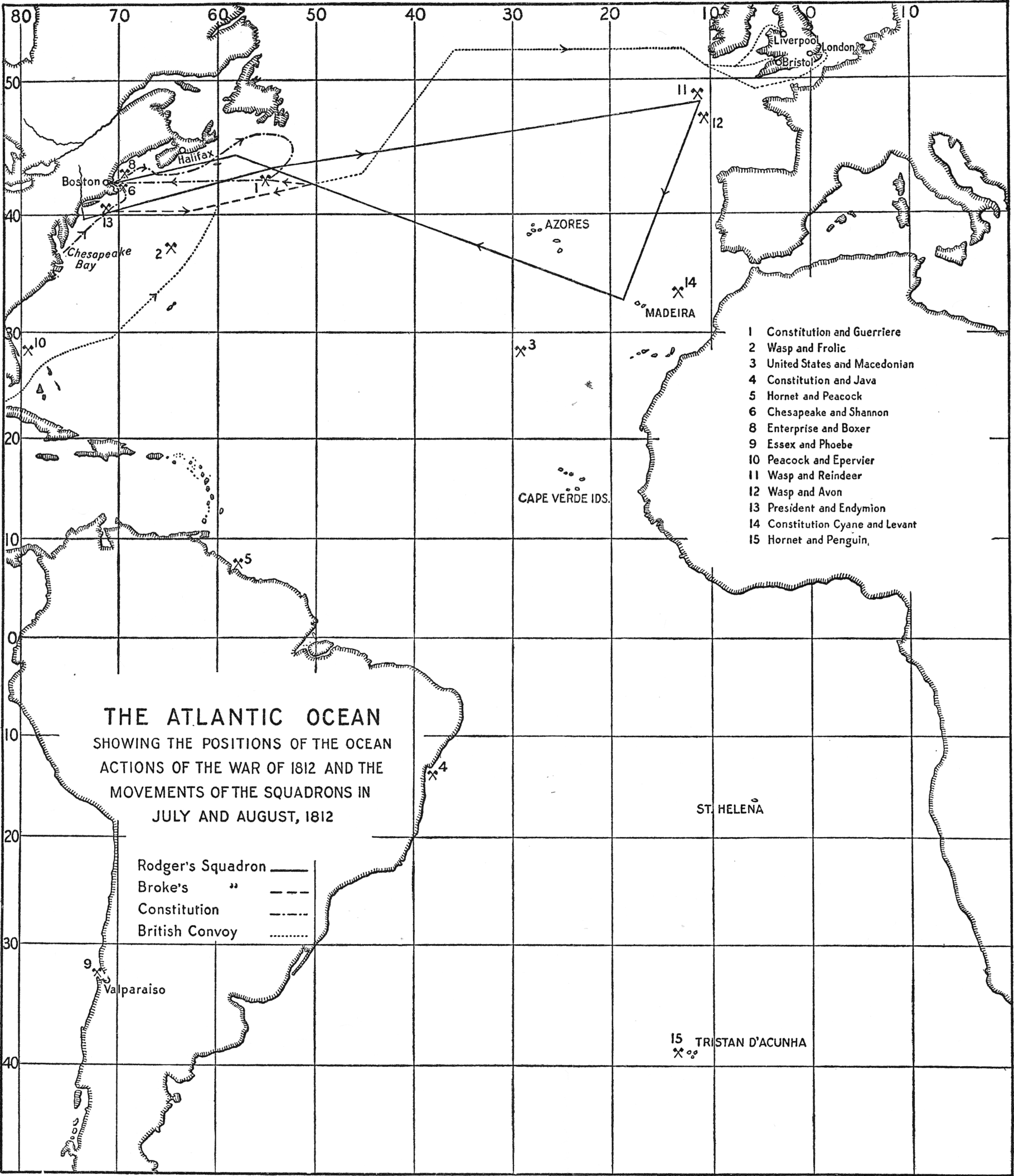 [The Atlantic Ocean, showing the positions of the ocean actions of the War of 1812 and the movements of the squadrons in July and August, 1812]