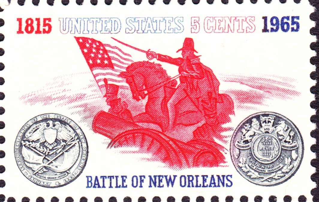 [Stamp commemorating the Battle of New Orleans and 150 years of peace.  Issued in 1965.]