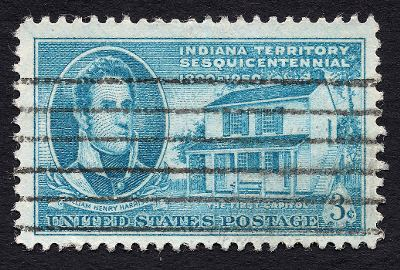 [Stamp commemorating the Indiana Territory Sesquicentennial, depicting William Henry Harrison and the first capitol]