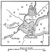 Map of Lake Erie, showing the location of the Battle of Lake Erie