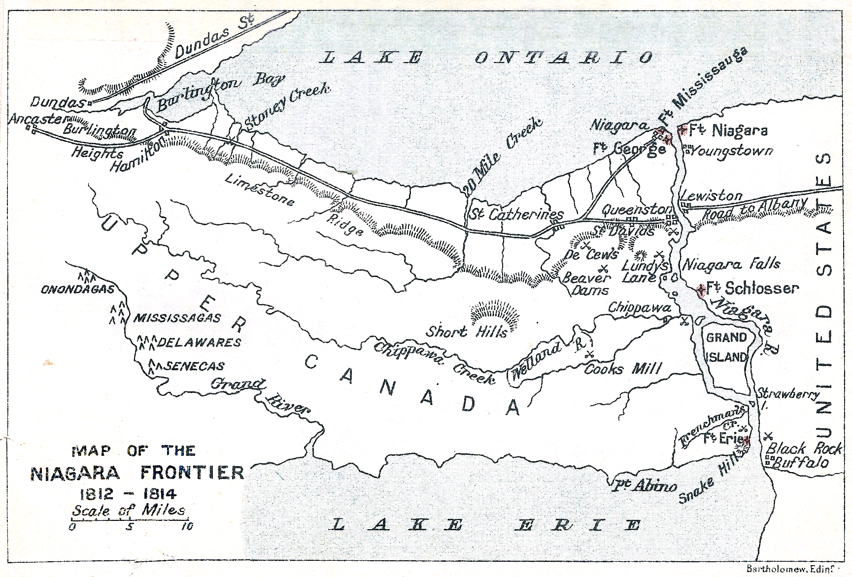 [Map of the Niagara Frontier, 1812–1814.  Map by John George Bartholomew.]
