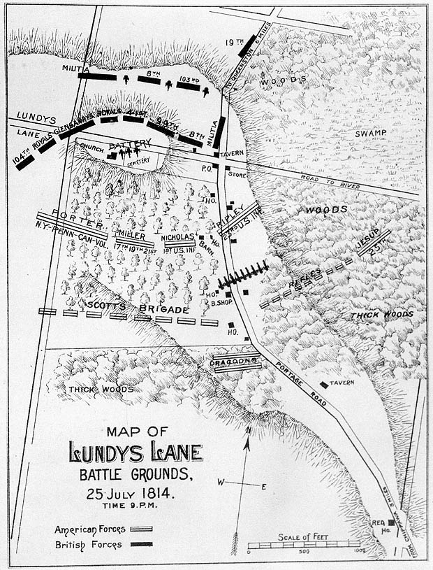 [Map of Lundy's Lane Battle Grounds, 25 July 1814, Time 9 p.m.]