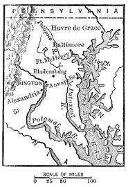 [Map of the Potomac River and Chesapeake Bay region during the War of 1812.]