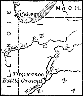 [Map showing the location of the Battle of Tippecanoe]