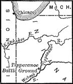 [Map showing the location of the Tippecanoe Battle Ground]