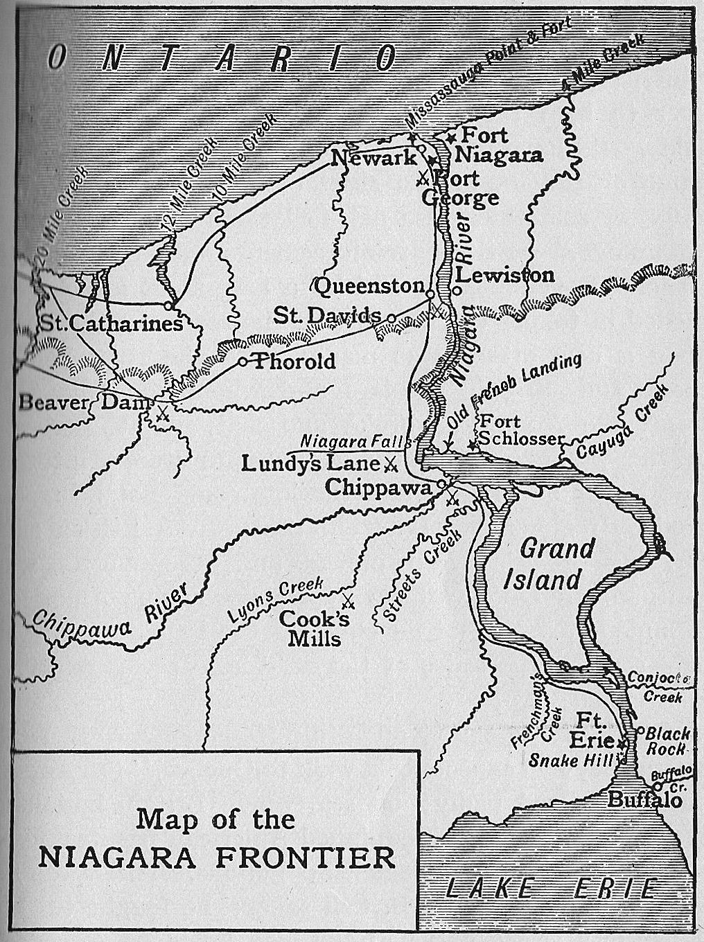 [Map of the Niagara Frontier and important battles of the War of 1812]