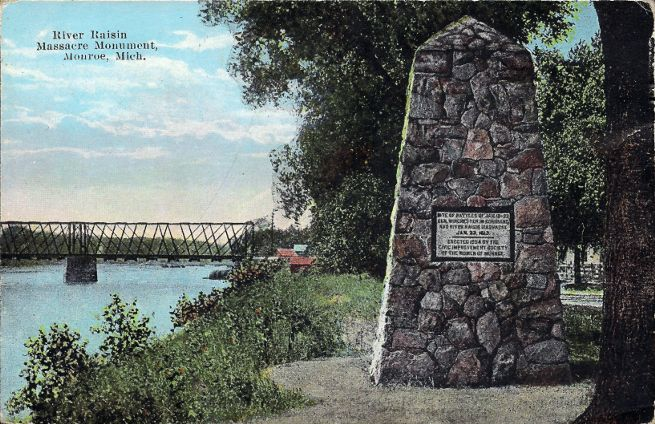 [Post card of Raisin River Massacre Monument, Monroe, Mich.]