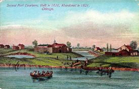 "Postcard captioned ""Second Fort Dearborn, built in 1816, abandoned in 1821, Chicago""."
