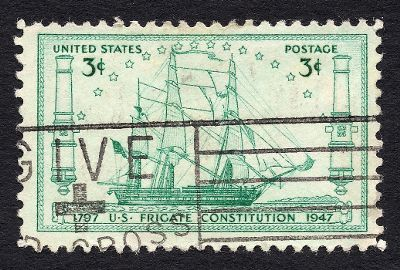 [Stamp featuring the U.S. Frigate Constitution]